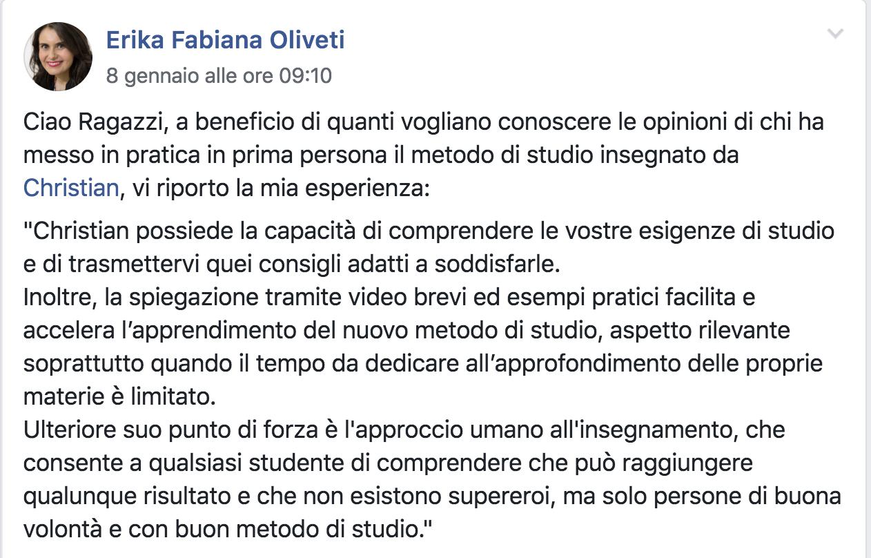 Erika Fabiana Olivetti testimonial